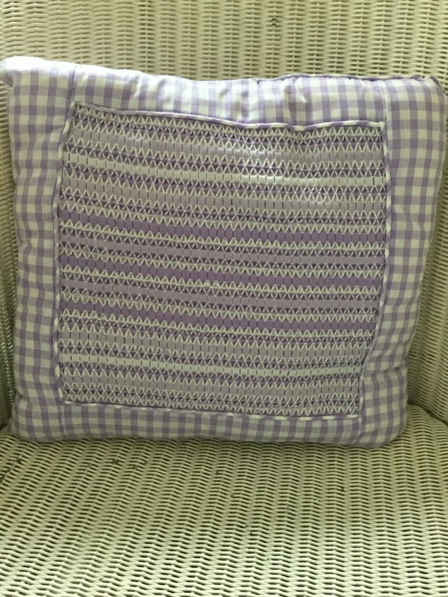 Hand Smocked Lilac Gingham Cushion