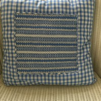 Hand Smocked Blue Gingham Cushion