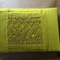 Small Hand Smocked Silk Photograph Album, Yellow Colour
