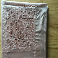 Hand Smocked Silk Photograph Album, Pale Pink Colour