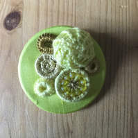 Dorset Button Medley Brooch, Lemon Yellow, M4