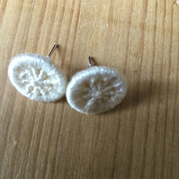 Dorset Button Earrings, Cream