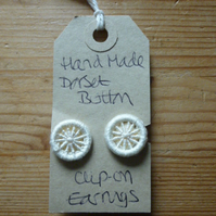 Dorset Button Clip-on Earrings, Cream