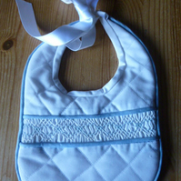 Hand Smocked Special Occasion Baby Bib, Blue Trimmed with Ribbon Ties