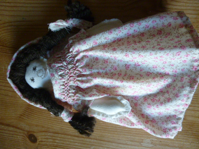 Unique Hand Made Rag Doll with Smocked Pink Floral Dress and Matching Bonnet
