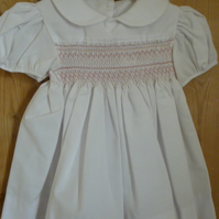Hand Smocked Traditional Baby's Dress, White with Pink Smocking, Newborn - 3 m