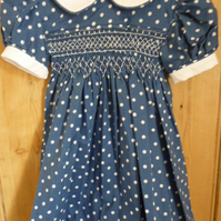 Hand Smocked Classic Baby's Dress, Blue with White Spots, 6 m