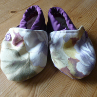 Dorset Button Trimmed Toddler Slippers, age 18 - 24 m, Purple Yellow Floral S1