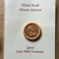 Hand Made Dorset Crosswheel Button, Spiral Pattern, Gold, 25 mm