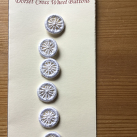 Set of 6, 15 mm, Traditional  Dorset Cross Wheel Buttons, White D7