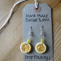 Dorset Button Drop Earrings with Beads, Pale Yellow