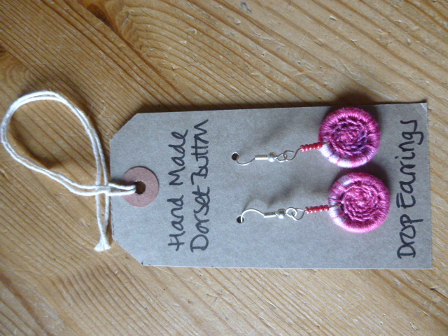 Dorset Button Drop Earrings with Beads,  Rose-Pink