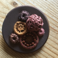 Dorset Button Medley Brooch, Chocolate, M3