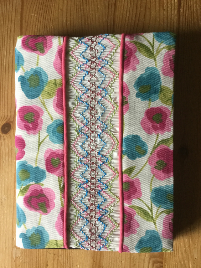 Smocked Slip Covered Sketchbook or Journal, Pink and Blue Floral