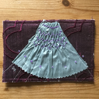 Hand Smocked and Beaded Silk Sampler Post Card, Blue on Purple S7