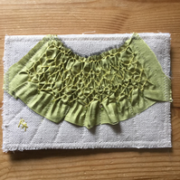 Hand Smocked and Beaded Silk Sampler Post Card,  Green on NaturalS8