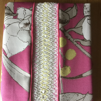 Smocked Slip Covered Sketchbook or Journal, Pink and Yellow Floral Print