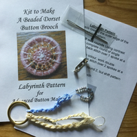 Kit for a Beaded Dorset Button Brooch, Labyrinth  Design Cream and Blue BL3