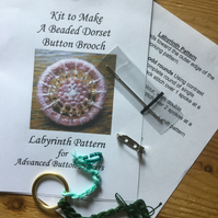 Kit for a Beaded Dorset Button Brooch, Labyrinth Design Greens BL2