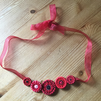 Dorset Button Necklace, Poppy