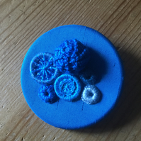 Dorset Button Medley Brooch, Turquoise