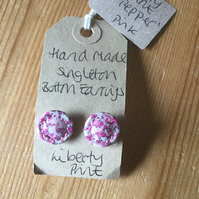 Dorset Button Earrings, Singletons with Liberty 'Pepper', Pink