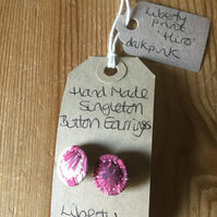 Dorset Button Earrings, Singletons with Liberty 'Hiro', Dark Pink