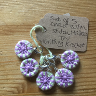 Set of Dorset Button Stitch Markers for Crochet or Knitting, Pale Green, Violet