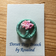 Dorset Posy Brooch, Mid Green with Pinks, P3