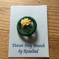 Dorset Posy Brooch, Dark Green with Yellows, P5