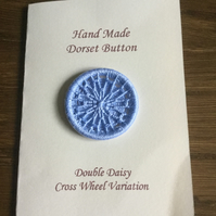 Hand Made Dorset Crosswheel Button,  Double Daisy Pattern, Blue, 32mm