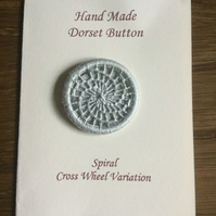 Hand Made Dorset Crosswheel Button, Spiral Pattern, Grey, 32mm