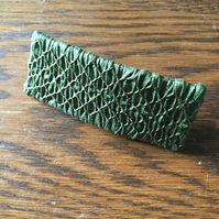 Hand Smocked and Beaded Golden Green Silk Hair Clip, H7