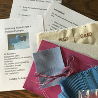 Beginners Smocking Kit to Create a Postcard Sampler, Pink and Blue, P3
