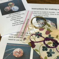 Kit to Make a Dorset Singleton Button in Liberty Print 'Mirabelle'