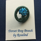 Dorset Posy Brooch, Dark Green with Blues, P25