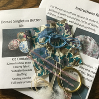 Kit to Make a Dorset Singleton Button in Liberty Print 'Poppy and Daisy'