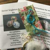 Kit to Make a Dorset Singleton Button in Liberty Print 'Poppy and Honesty'