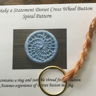 Kit to Make a Statement Dorset Button, Spiral Design, Apricot