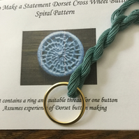 Kit to Make a Statement Dorset Button, Spiral Design, Sea Green