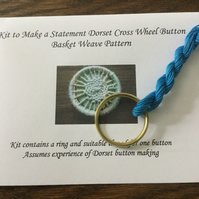 Kit to Make a Statement Dorset Button, Basket Weave Design, Blue