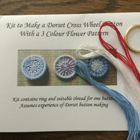 Dorset Button Flower Pattern Kit, Pale Blue, White and Red, F7