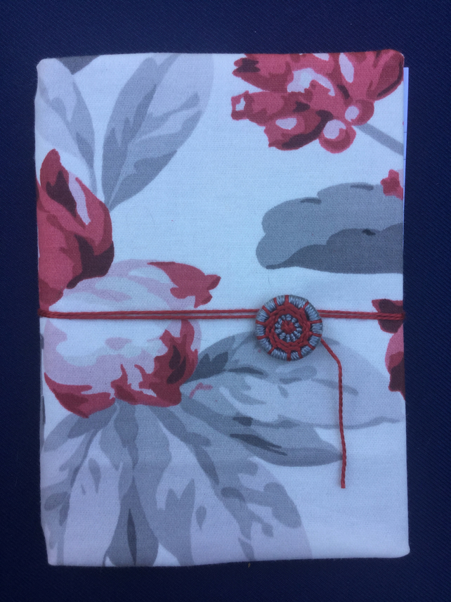 A6 Notebook with Dorset Button Closure, Grey and Red Floral