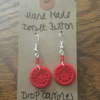 Dorset Button Drop Earrings with Beads,  Red