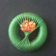Vintage Style Dorset Button Posy Brooch, Jade Green with Tropical Flowers