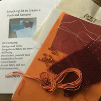 Beginners Smocking Kit to Create a Postcard Sampler, Orange and Burgundy, P8
