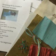 Beginners Smocking Kit to Create a Postcard Sampler, Gold and Rust, P5