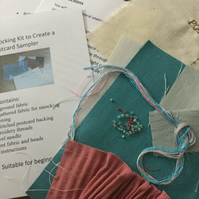Beginners Smocking Kit to Create a Postcard Sampler, Turquoise and Pink, P4