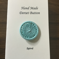 Hand Made Dorset Crosswheel Button, Spiral Pattern, Pale Jade, 32mm