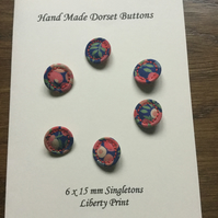 Set of 6,15 mm, Traditional Dorset Singleton Buttons, S5